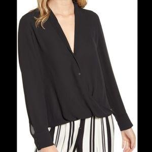 Chelsea 28 wrap front button up blouse